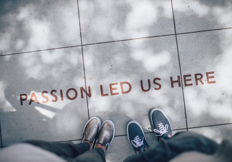 passion led us here on pavement with feet